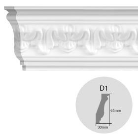 Moldura decorativa techo pared EPS Isomold D1 interior 30mm x 65mm x 1950mm pack x 2u