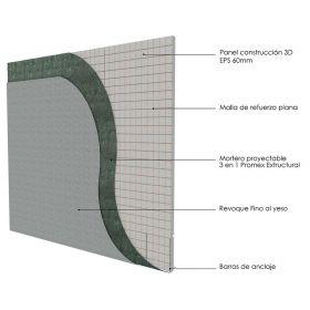 Pared portante de paneles 3D y revoque proyectado