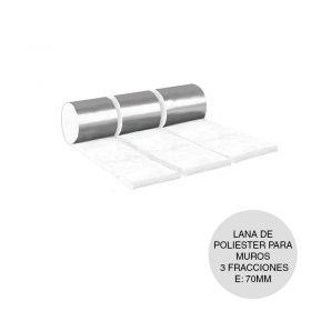 Lana poliester aislante termico acustico muros barrera vapor 3 fracciones rollo 70mm x 400mm x12.5m