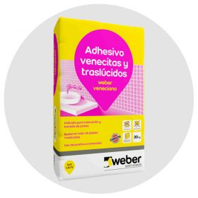 Pegamento venecitas y traslucidos Weber Veneciano nieve bolsa x 30kg