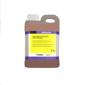 Aditivo Weber acelerante fragüe liquido con cloruro rosado bidon x 1l
